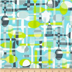 Kanvas Toss & Serve Utensils Aqua/Grey Fabric
