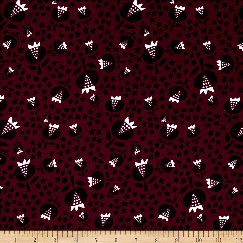 Cotton + Steel Flower Shop Rayon Challis Thistle Cerise Fabric By The Yard