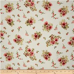 Bubble Crepe Floral Eggshell/Coral