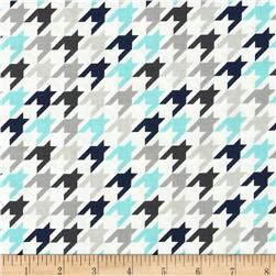 Riley Blake Medium Houndstooth Blue/Grey Fabric