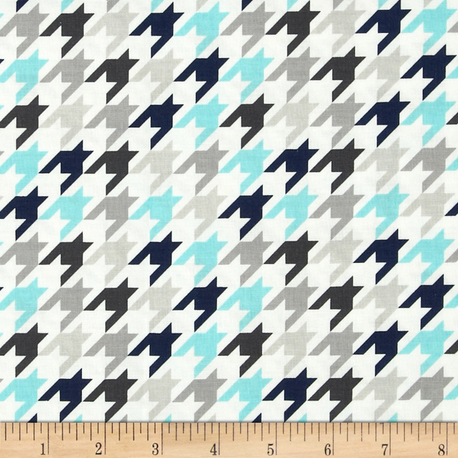 Riley Blake Small Houndstooth Blue/Gray Fabric by Christensen in USA