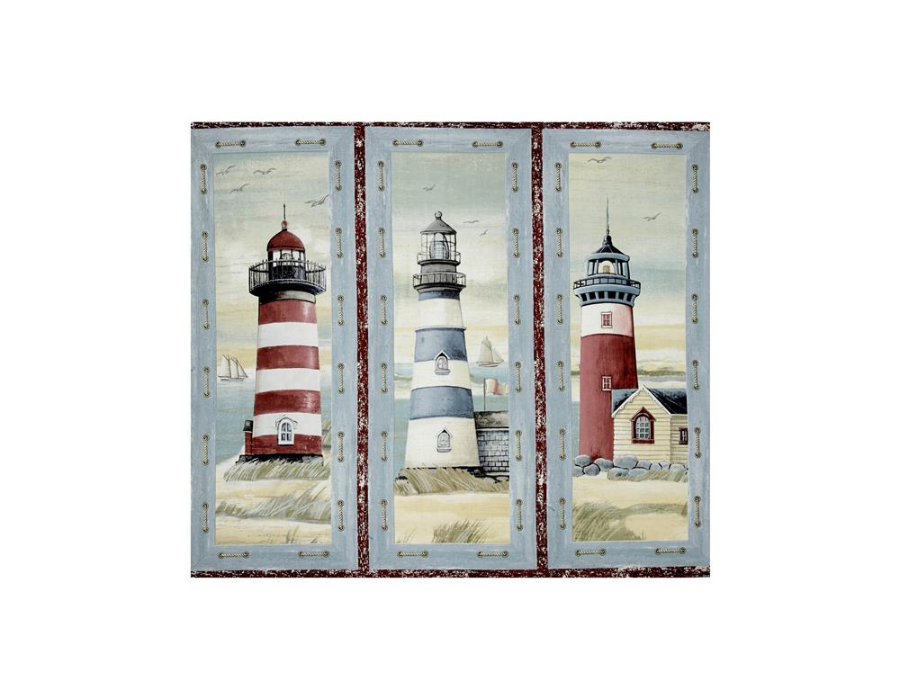 Seaside Lighthouse Picture Patch 35 In. Panel Multi Fabric By The Yard