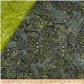 Indian Batik Double Sided Quilted Tribal Print Green/Grey