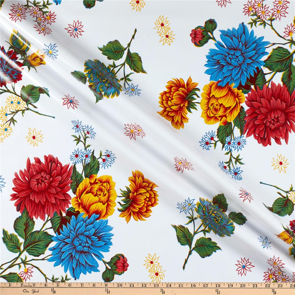 Oilcloth Mums White Fabric By The Yard