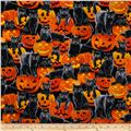 Timeless Treasures Halloween Cats and Jack-o-Lanterns Orange
