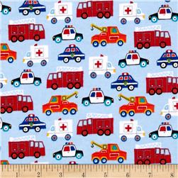 Flannel Emergency Service Trucks Blue