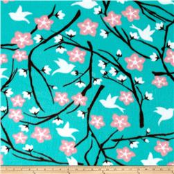 Printed Fleece Cherry Blossom & Dove