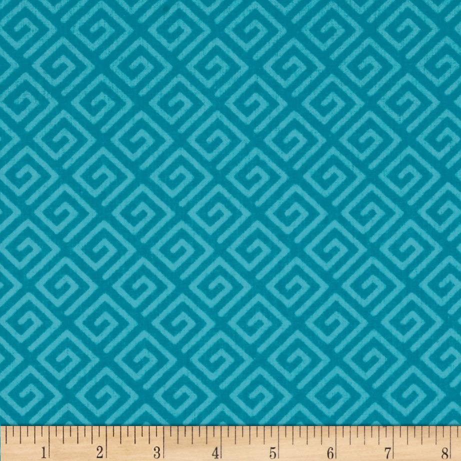 108 wide quilt back greek key teal discount designer for Quilting material