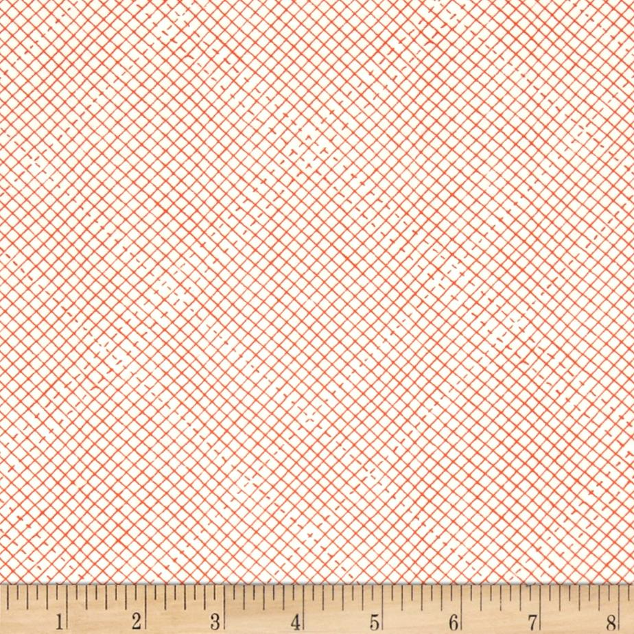 Kaufman Euclid Printed Linen Grid Tangerine Fabric By The Yard