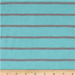 Yarn Dyed Jersey Knit Stripe Deep Turquoise