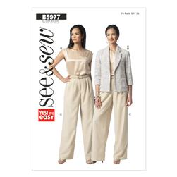 Butterick Misses' Unlined Jacket, Top and Pants Pattern B5977 Size 0A0