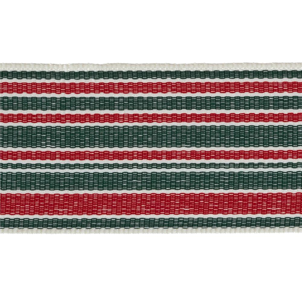 "1 1/2"" Grosgrain Stripes Red/Green/Ivory"