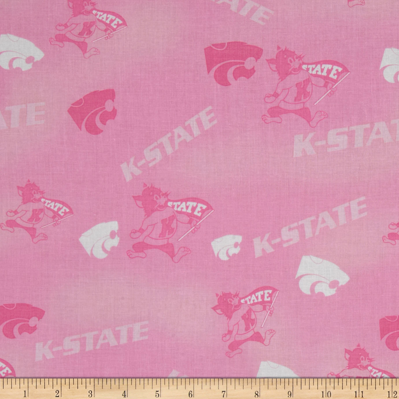Collegiate Cotton Broadcloth Kansas State Pink Fabric