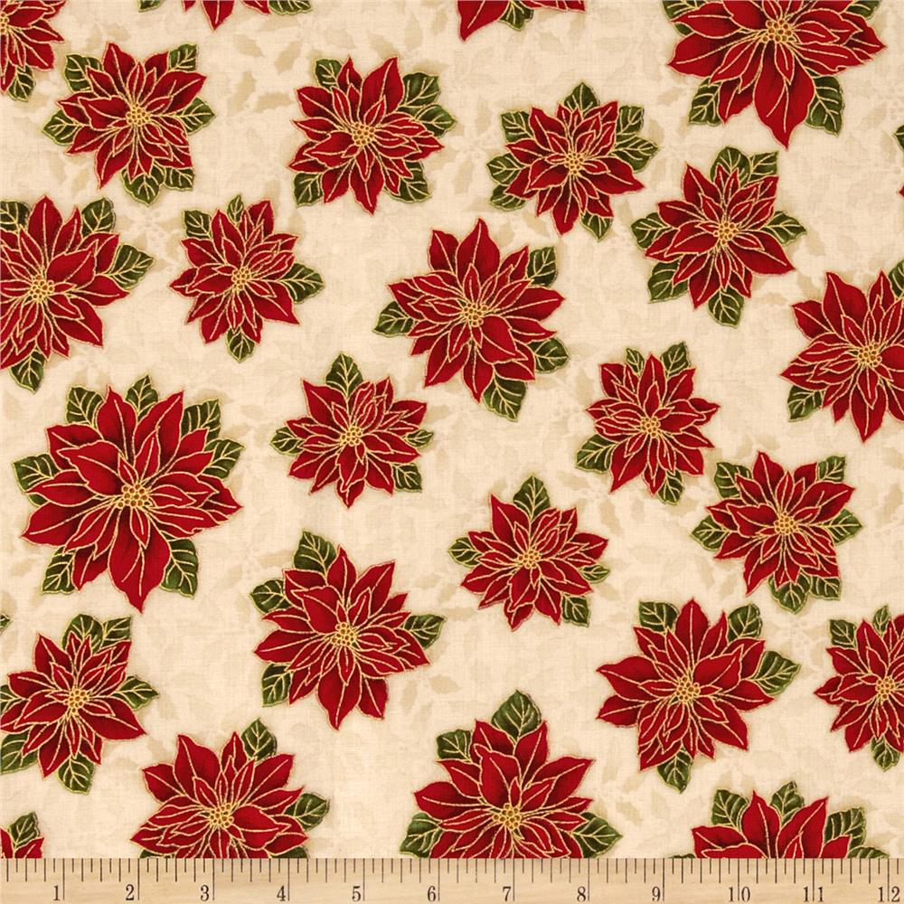 Holiday Flourish 6 Small Poinsettia Metallic Holiday Red