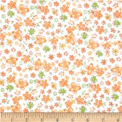 Printed Corduroy 21 Wale Butterflies White/Orange