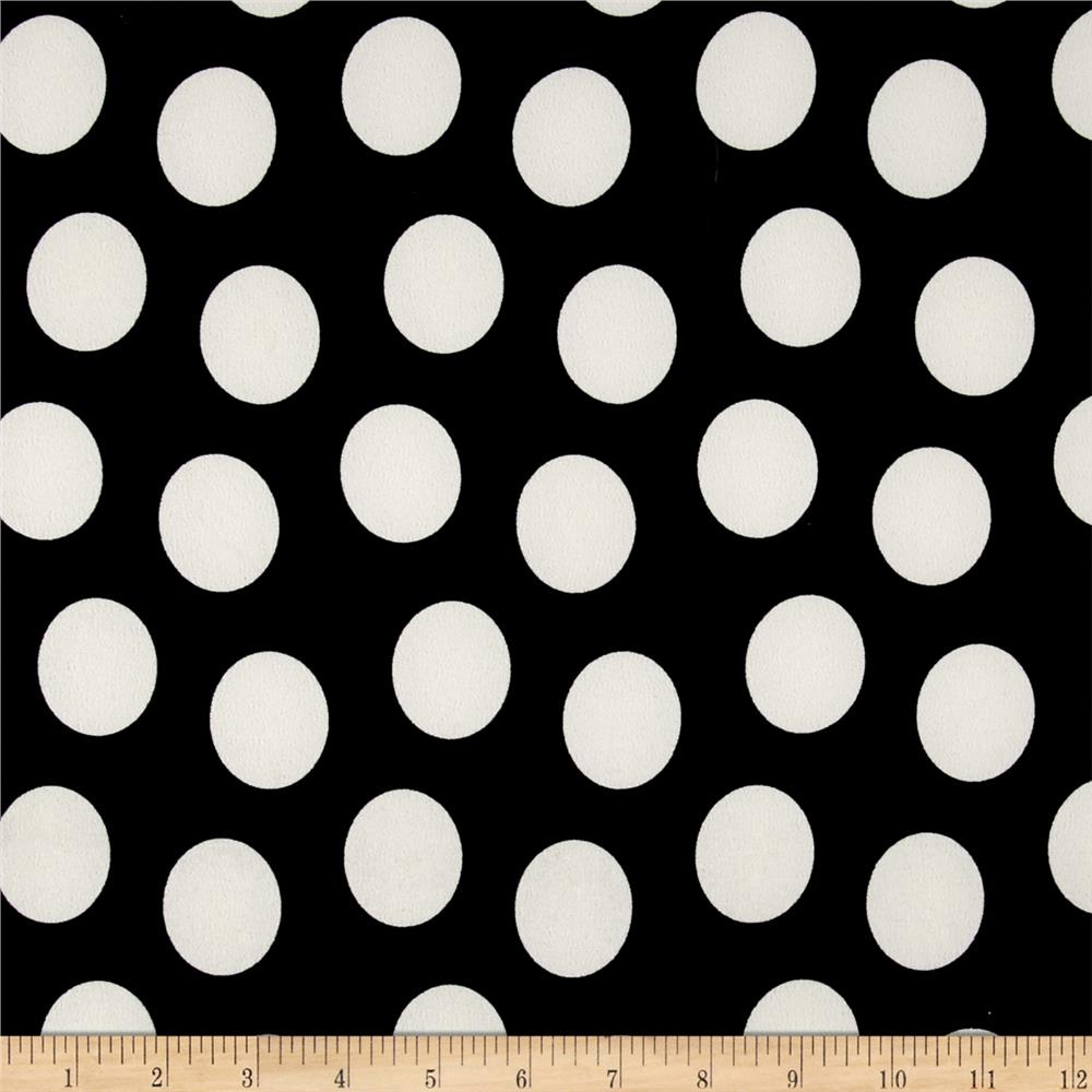 Stretch Shirting Jumbo Dot Print Black/Cream