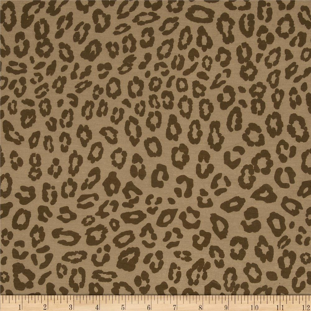 Stretch Rayon Jersey Knit Cheetah Taupe/Brown