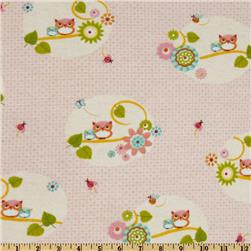 Comfy Flannel Owls on Branch Pink/Multi