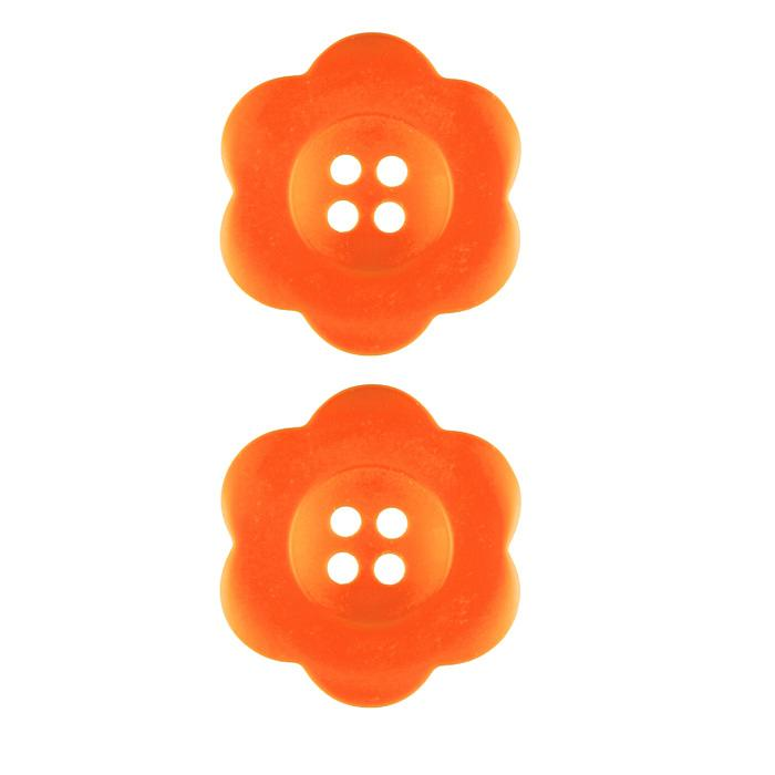 Riley Blake Sew Together 1 1/2'' Flower Matte Button Orange