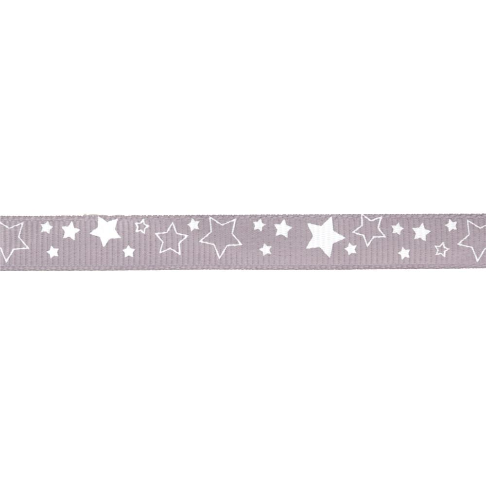 "Riley Blake 3/8"" Grosgrain Ribbon Stars Grey"