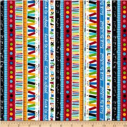 Timeless Treasures School Stripe Multi