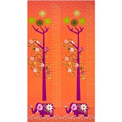Mystic Forest Elephant Tree Growth Chart Panel Orange
