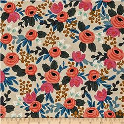 Cotton + Steel Rifle Paper Co. Les Fleurs Canvas Rosa Floral Natural