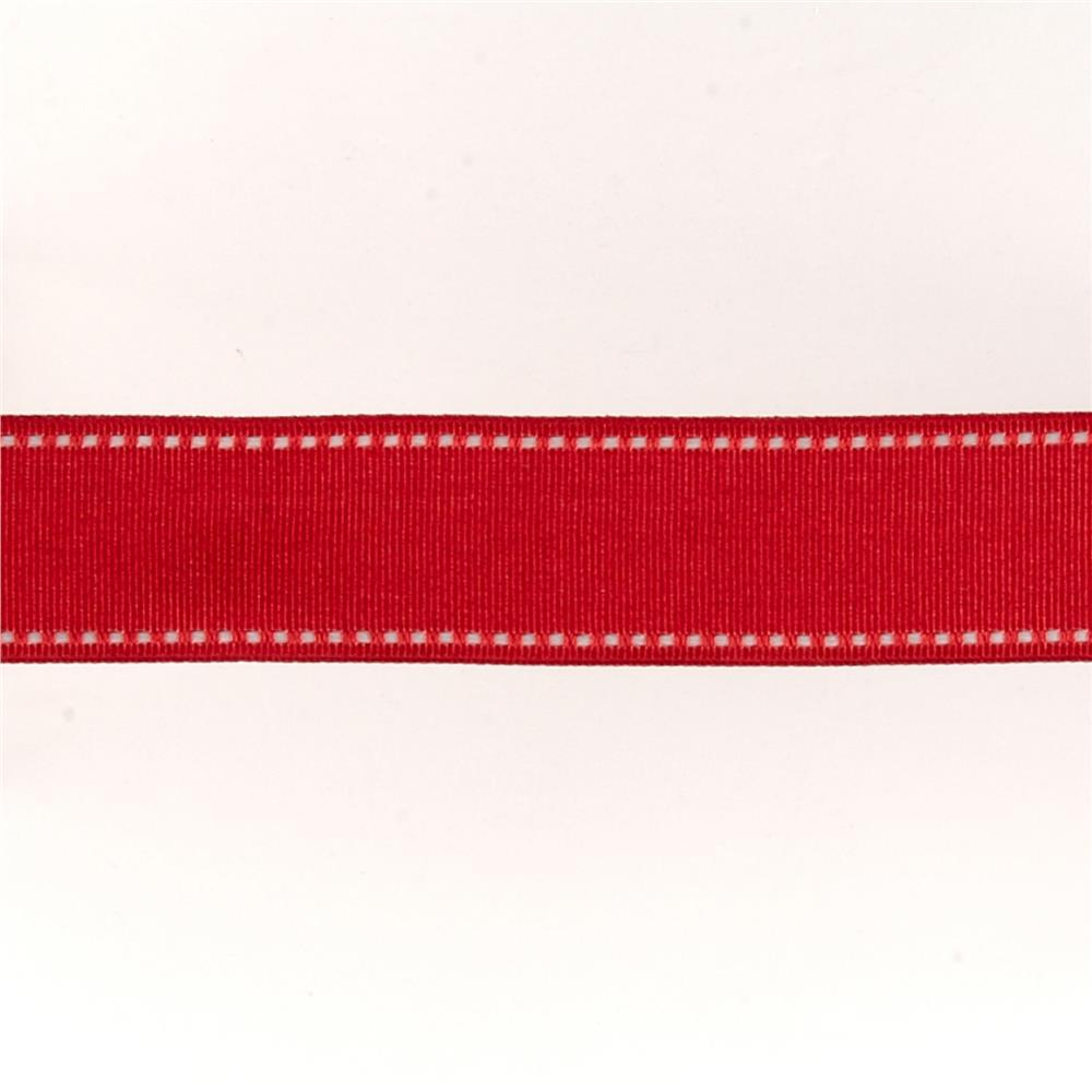 "May Arts 1 1/2"" Grosgrain Stitched Edge Ribbon Spool Red/White"