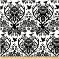 Joel Dewberry Birch Farm Home Decor Sateen Antler Damask Black