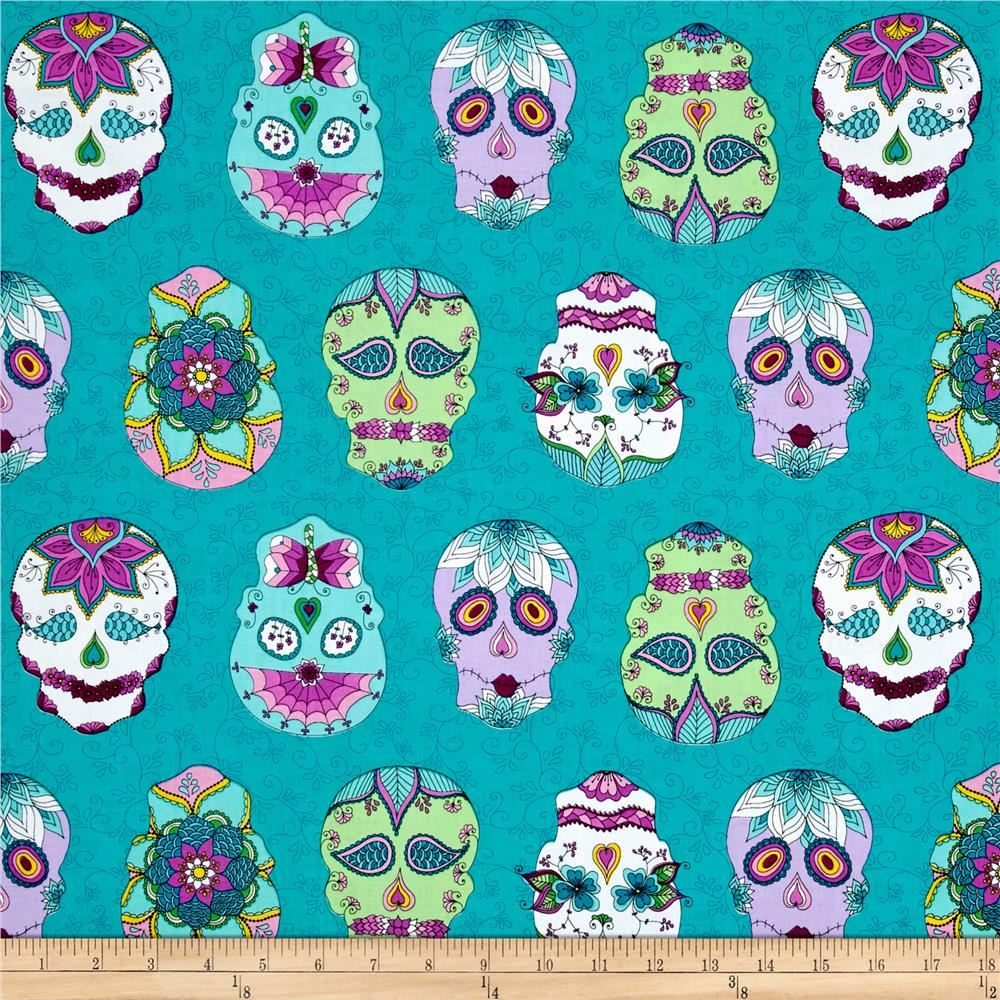 Day Of The Dragonfly Sugar Skulls Blue/Multi