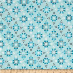 Winter Warmth Flannel Small Floral Snowflakes Light Blue