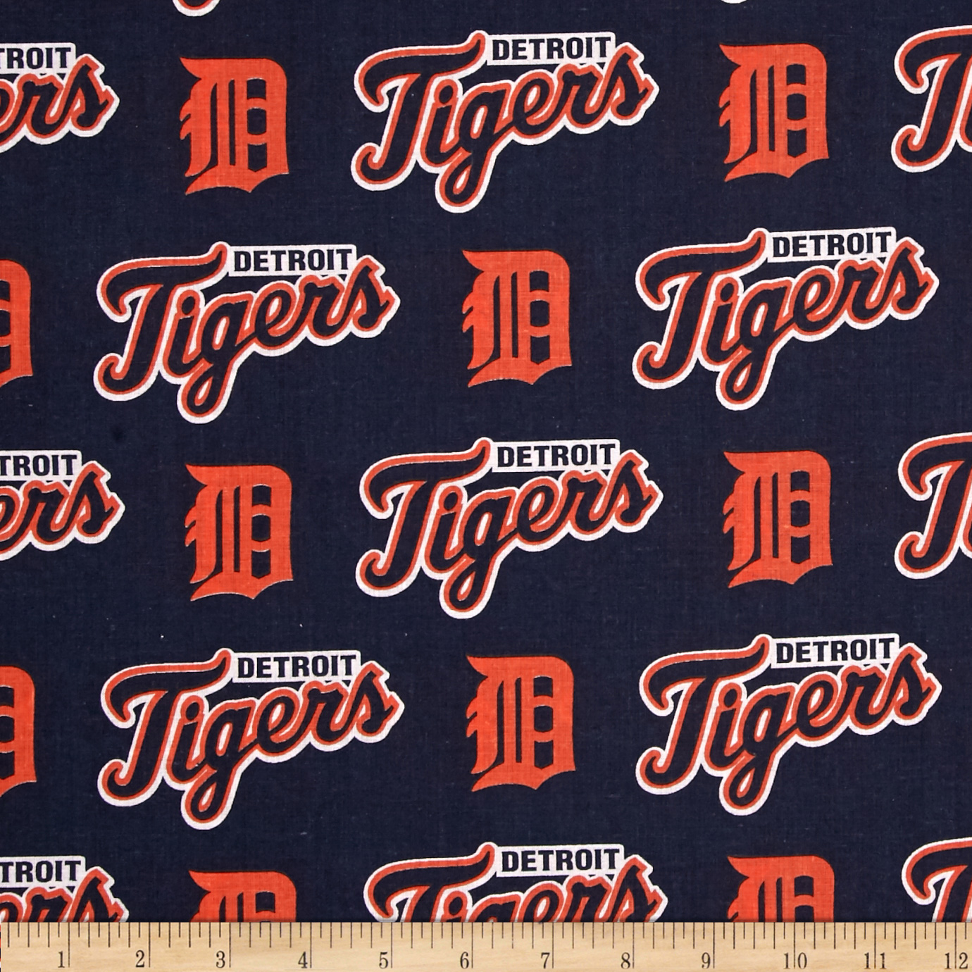MLB Cotton Broadcloth Detroit Tigers Orange/Navy Fabric by Fabric Traditions in USA