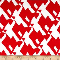 Rayon Challis Abstract Snake Red/White