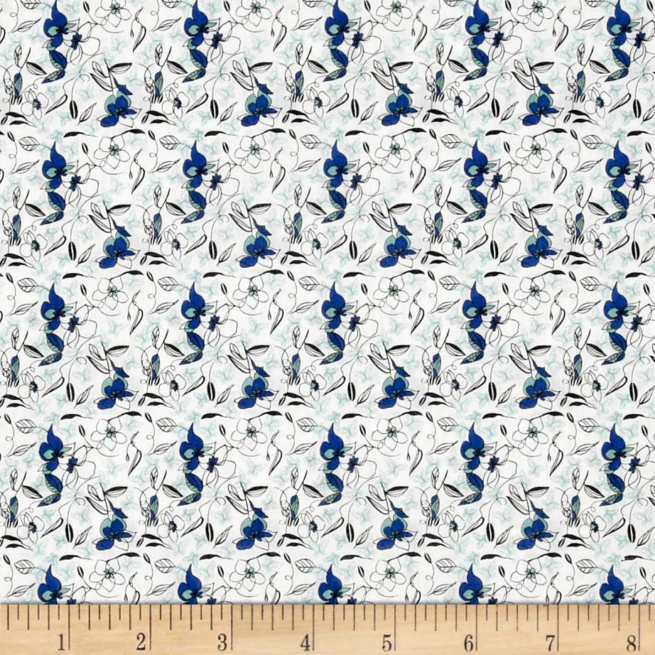 Paris Poplin Floral White/Blue