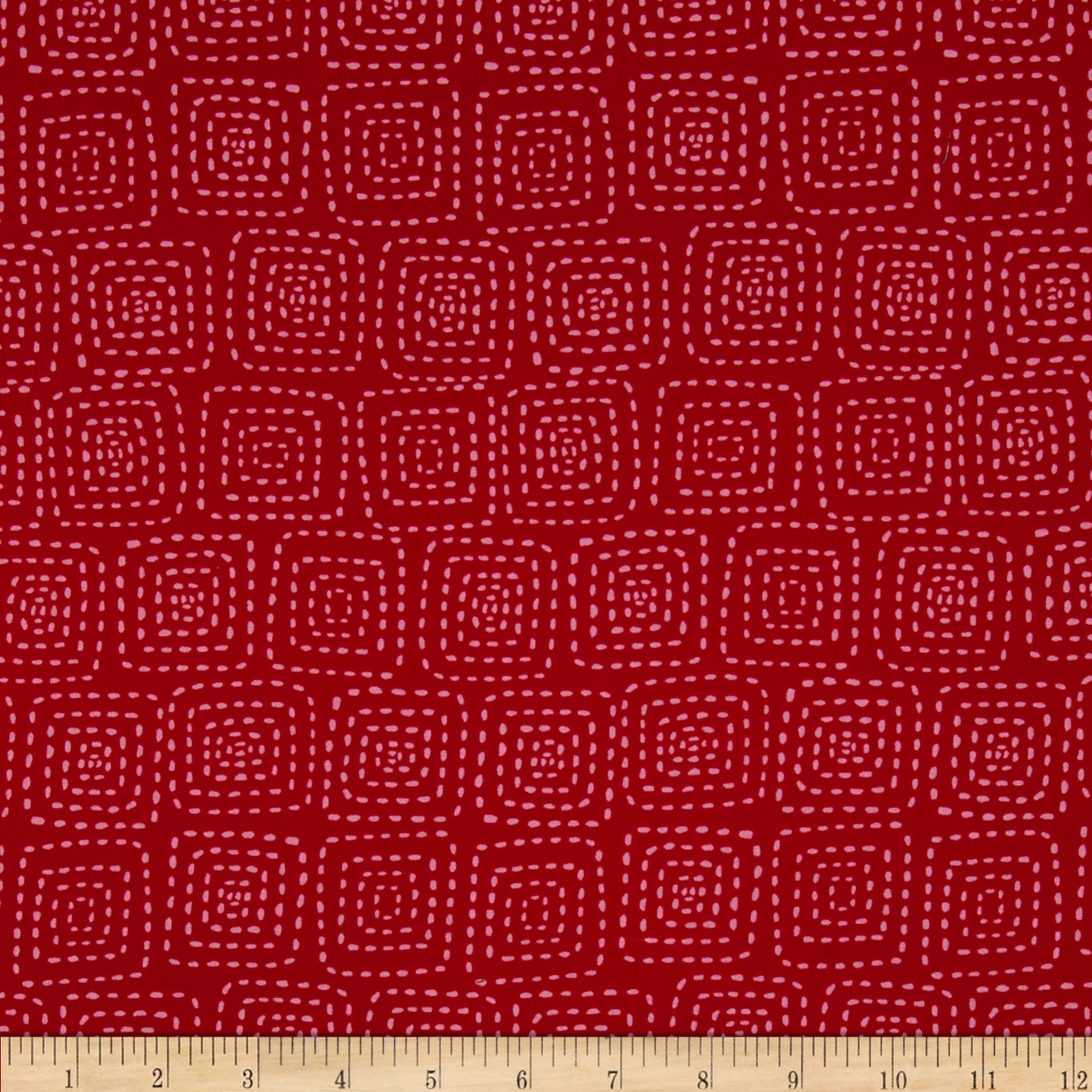 Michael Miller Stitch Square Berry Fabric