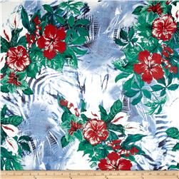 Italian Designer Silk Chiffon Tropical Floral Blue/Green/Red