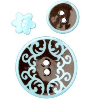 Fashion Buttons 1/2'', 3/4'', 1 3/8'' Coordnates Scrolls Brown/Blue
