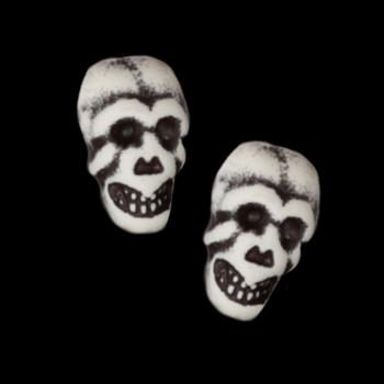 Novelty Button 3/4'' Skull White/Black