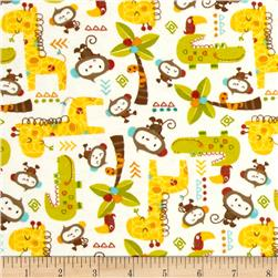 Comfy Flannel Woodland Animals White