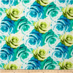 Stretch Rayon Jersey Knit Roses Blue/Green Fabric