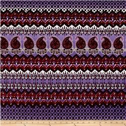 Bohemian ITY Stretch Jersey Knit Purple/Wine/White