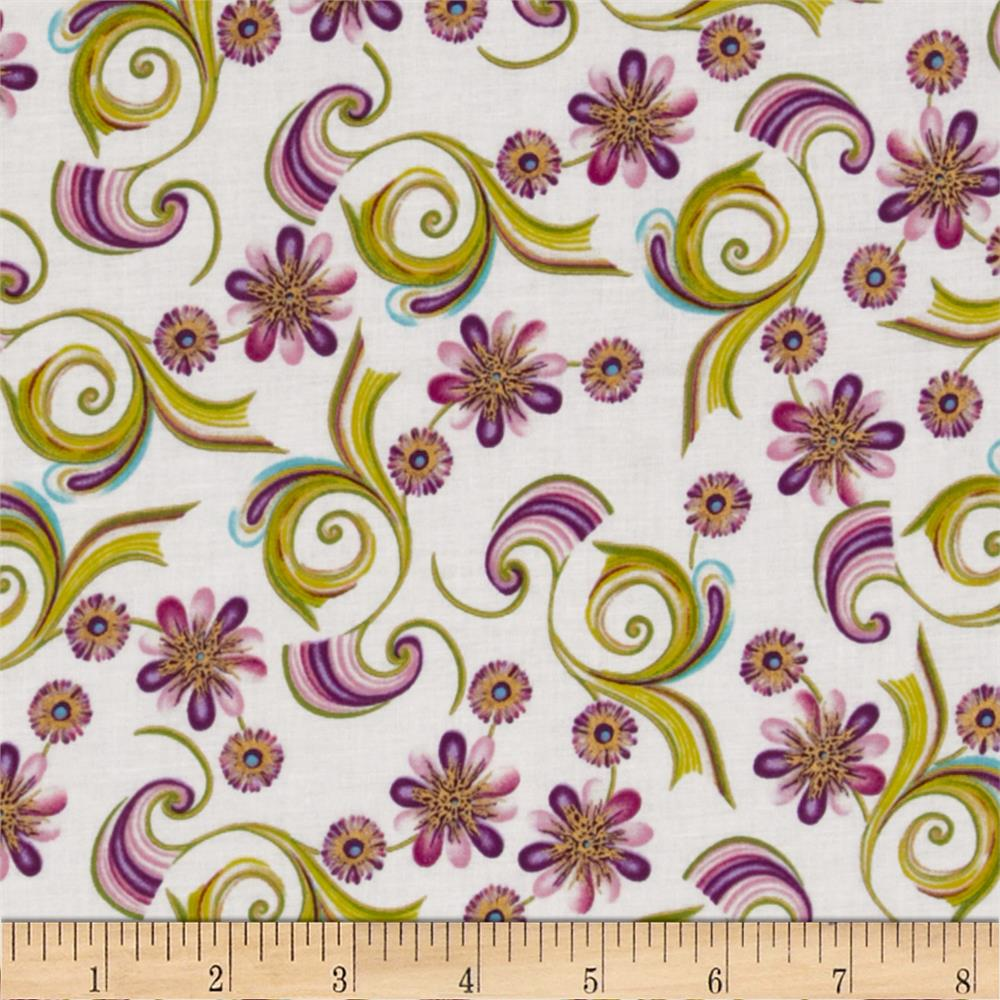 Sweet Flowers Metallic Mini Abstract Floral Purple