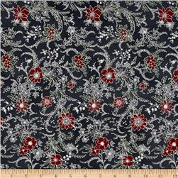 Berries and Blooms Metallic Christmas Floral Storm/Silver