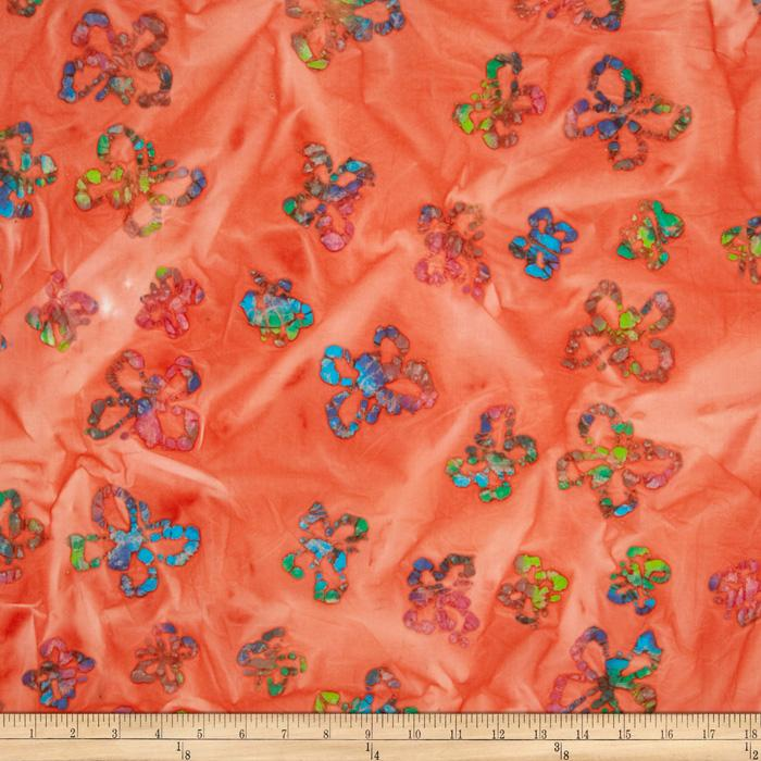 Indian Batik Butterflies Coral/Multi