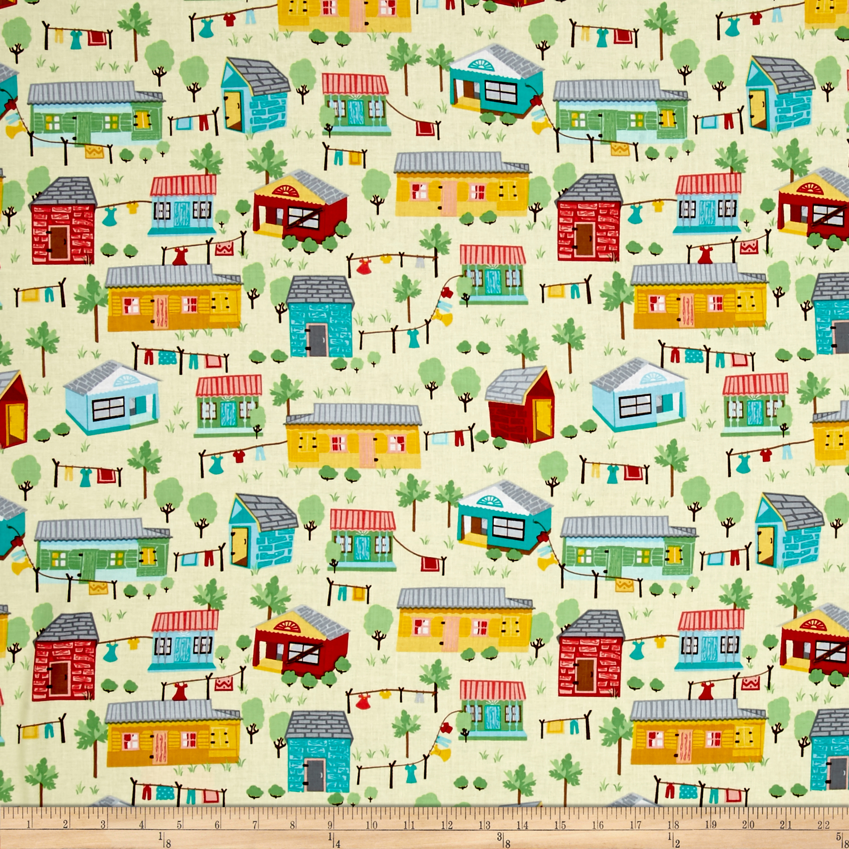 Timeless Treasures Crafty Gemini Dominicana Houses Scenic Butter Fabric by Timeless Treasures in USA