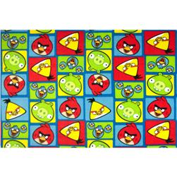 Angry Birds Fleece Squares Blue Fabric
