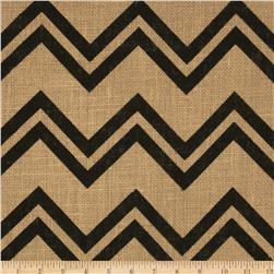 Printed Burlap Chevron Black Fabric