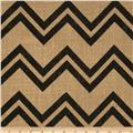 Printed Burlap Chevron Black