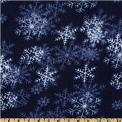 WinterFleece Dark Blue Blizzard Fabric