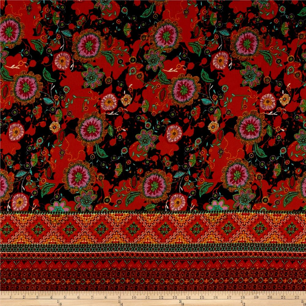 Telio Crepe Sirina Floral Border Print Orange